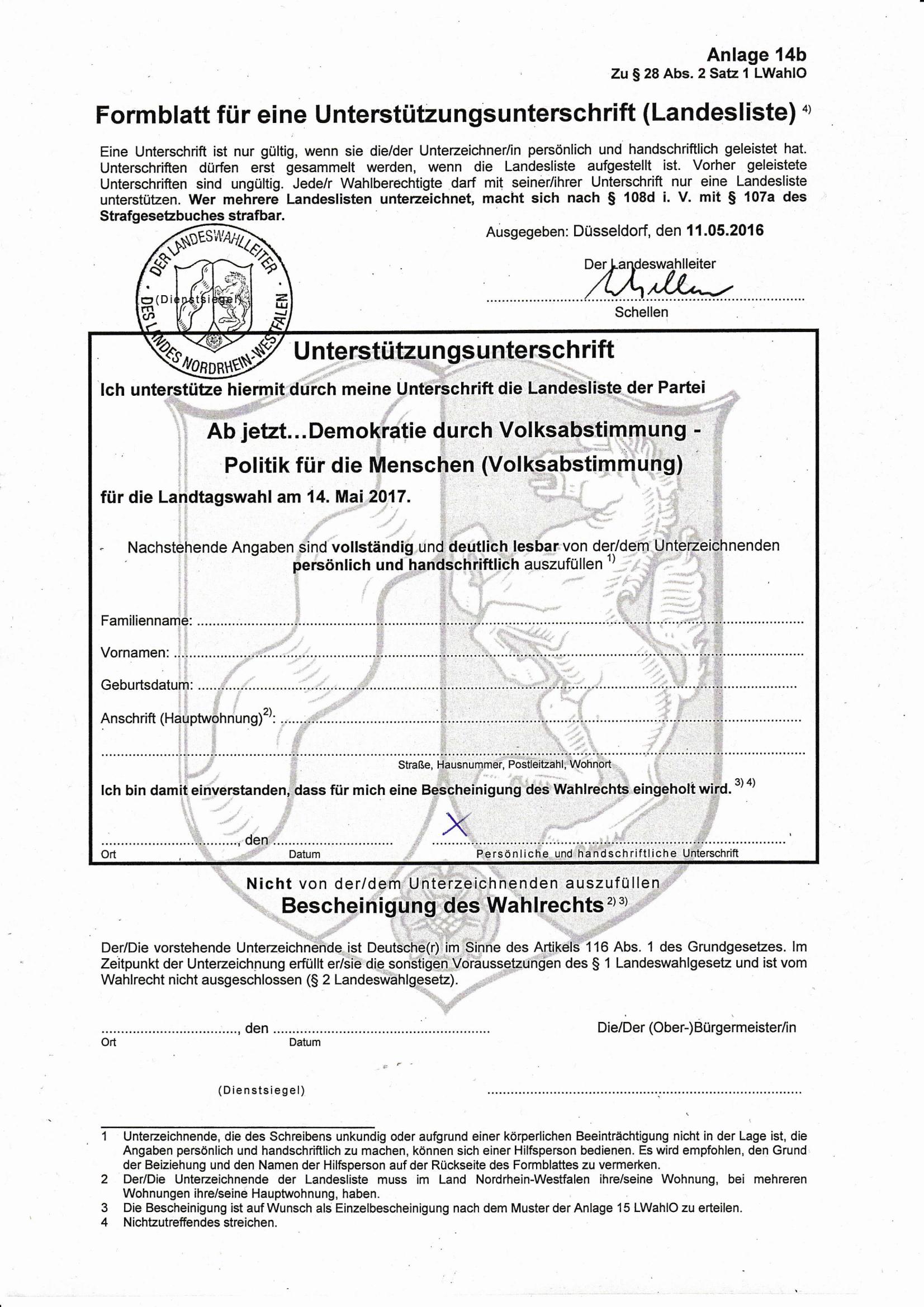 Formblatt zur Landtagswahl 2016