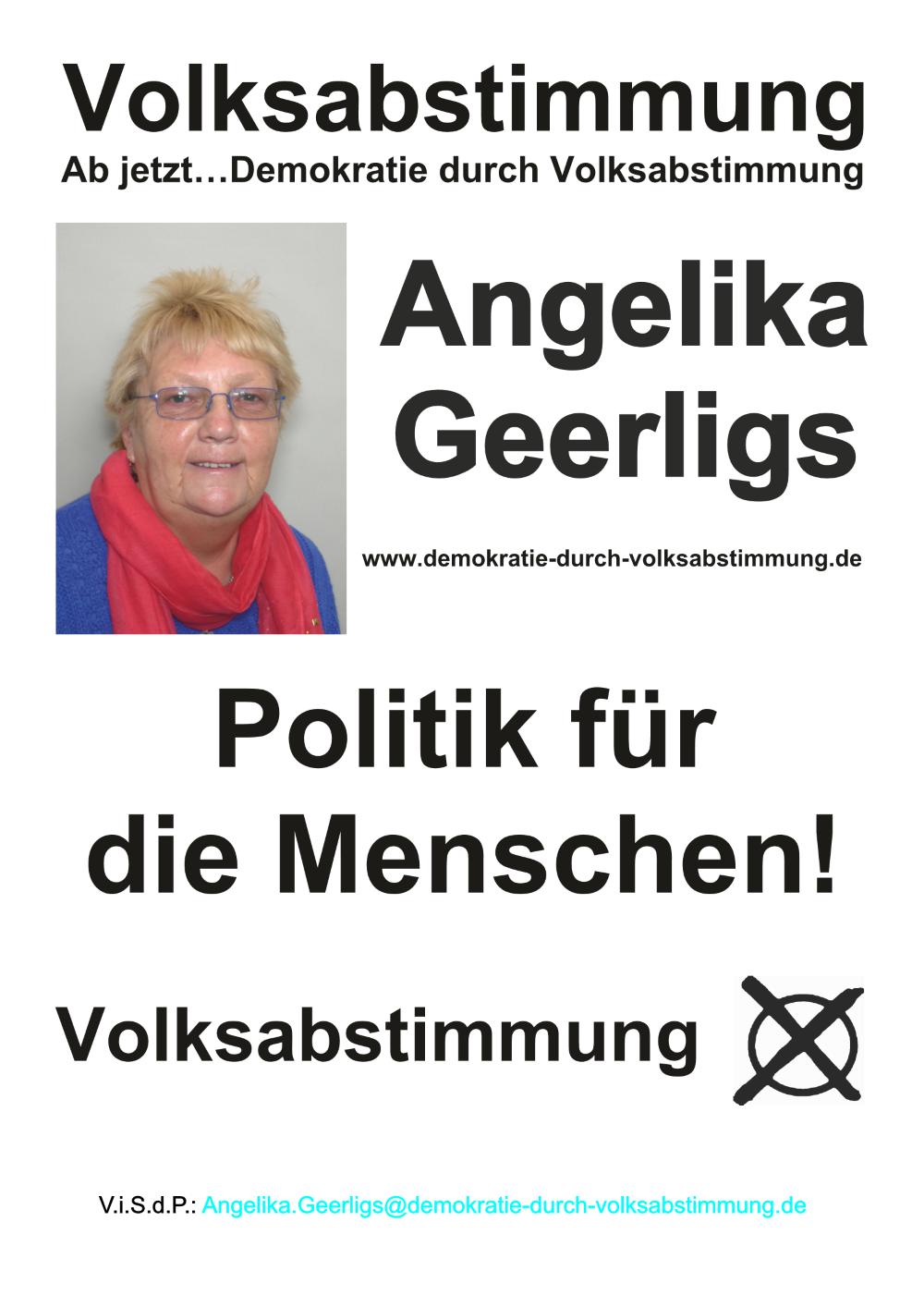 Wahlplakat Angelika Geerligs