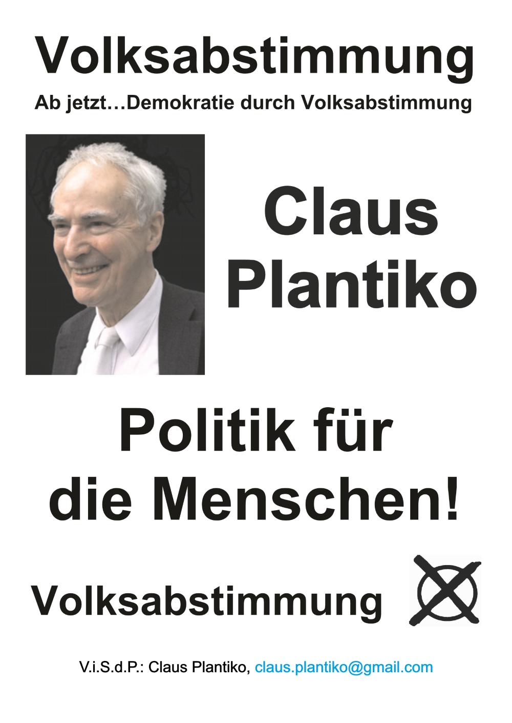 Wahlplakat Claus Plantiko